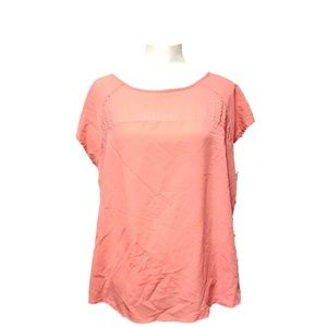 Ava & Viv Womens Short Sleeve Top Peach Blouse 1X